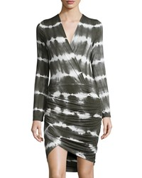 Young Fabulous And Broke Young Fabulous And Broke Babe Ruched Tie Dye Long Sleeve Dress Olive