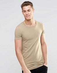 Asos Longline Muscle T Shirt With Square Neck In Stone Silver Mink Beige