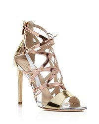 Alejandro Ingelmo Boomerang Metallic Lace Up High Heel Sandals Metallic Mix