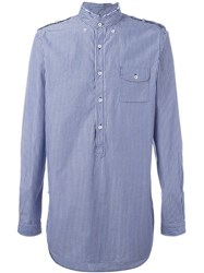 Lardini Band Collar Striped Shirt Blue
