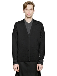 Givenchy Striped Cuffs Wool Cardigan Black