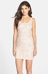 Adrianna Papell Beaded Tank Dress Blush