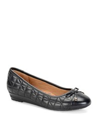 Sofft Shonda Quilted Leather Cap Toe Ballerina Flats Black