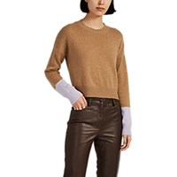 Barneys New York Colorblocked Cashmere Crop Sweater Beige Tan