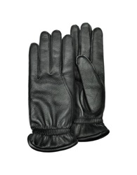Pineider Men's Black Deerskin Leather Gloves W Cashmere Lining