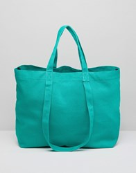 Asos Sustainable Cotton Double Handle Summer Shopper Green