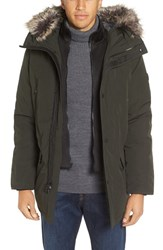 Michael Kors Men's Faux Fur Trim Down And Feather Fill Parka Dark Olive