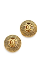 Wgaca Vintage Chanel Cutout Cc Burst Earrings Gold