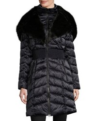 Laundry By Shelli Segal Quilted Puffer Jacket With Faux Fur Collar Blue