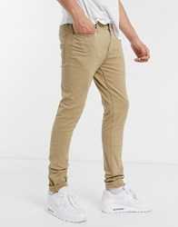 Jack And Jones Intelligence Skinny Fit 5 Pocket Trousers In Sand Tan