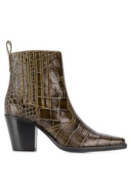 Ganni Callie Western Ankle Boots Green