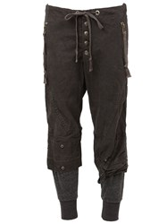 Greg Lauren Army Style Cropped Trousers Grey