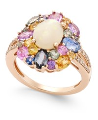 Macy's Opal 1 Ct. T.W. Multi Sapphire 3 Ct. T.W. And Diamond 1 10 Ct. T.W. Ring In 14K Rose Gold