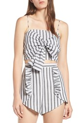 The Fifth Label Acacia Stripe Knotted Crop Top Black W White