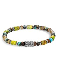 John Hardy Sterling Silver Classic Chain Mixed Turquoise Bead Bracelet Green Silver