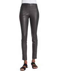 The Row Lenra Bonded Leather Leggings Pewter Silver