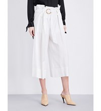 Sharon Wauchob Ruched Wide High Rise Cotton Trousers Cream