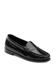 G.H. Bass Whitney Croco Patent Leather Penny Loafers Black