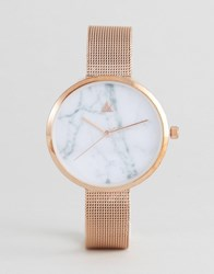 Asos Curve Marble Face Mesh Watch Copper