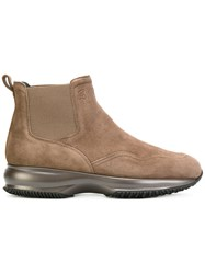 Hogan Chelsea Boots Women Leather Suede Rubber 39 Brown