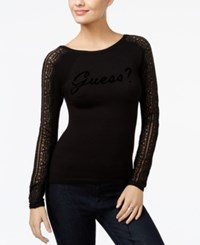 Guess Holly Lace Trim Graphic Sweater Jet Black