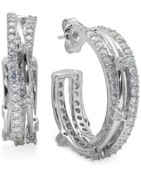 Crislu Platinum Over Sterling Silver Cubic Zirconia Entwined Hoop Earrings 2 1 2 Ct. T.W.