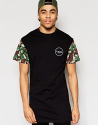Friend Or Faux Longline T Shirt Camo Sleeve Black Black