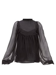 Rochas Balloon Sleeve Silk Chiffon Blouse Black