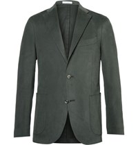Boglioli Green Slim Fit Brushed Stretch Cotton Twill Suit Jacket Green