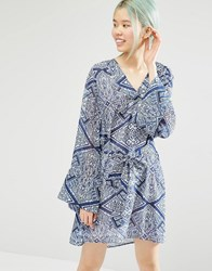 Monki Boho Print Detail Dress Print