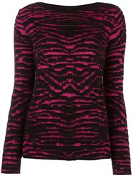 Just Cavalli Patterned Knit Sweater Black
