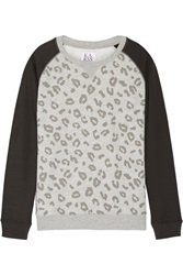 Zoe Karssen Printed Color Block Jersey Sweatshirt Animal Print