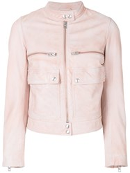 Zadig And Voltaire Love Leather Jacket Pink And Purple