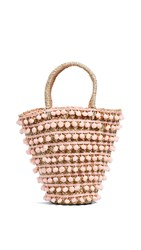 Mystique Pom Pom Tote Bag Peach