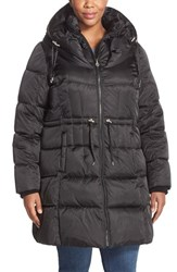 Plus Size Women's Betsey Johnson Quilted Puffer Coat With Convertible Pillow Collar Hood