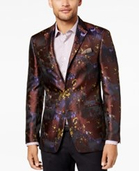 Tallia Men's Big And Tall Slim Fit Purple Abstract Floral Jacquard Blazer