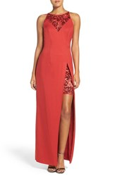 Js Collections Women's Sequin Illusion Gown