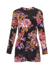 Mary Katrantzou Abstract Poppy Print Silk Crepe Playsuit Navy Print