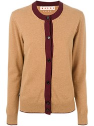Marni Colour Blocked Cardigan Nylon Cashmere Brown