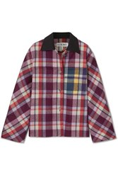 Loewe Leather Trimmed Checked Brushed Wool Jacket Purple