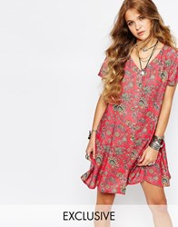 Reclaimed Vintage Button Front Tea Dress In Paisley Floral Print Red