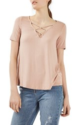 Topshop Women's Cross Neck Tee Nude