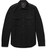 Theory Rossland Mory Shell Panelled Wool Blend Flannel Shirt Black