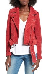 Blank Nyc Women's Blanknyc Morning Suede Moto Jacket Red Moon Red