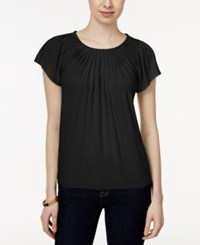Styleandco. Style And Co. Solid Pleated Neck Top Ebony Black