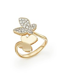 Bloomingdale's Diamond Butterfly Ring In 14K Yellow Gold .50 Ct. T.W. White Gold