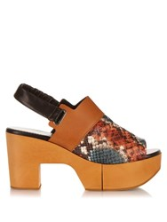 Robert Clergerie Carine Wooden Platform Leather Sandals Black Multi