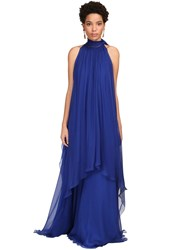 Alberta Ferretti Draped Silk Chiffon Long Dress Eletric Blue