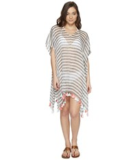 Seafolly Linen Block Stripe Kaftan Cover Up Black Women's Swimwear