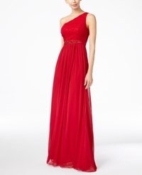 Adrianna Papell Embellished Lace One Shoulder Gown Cherry